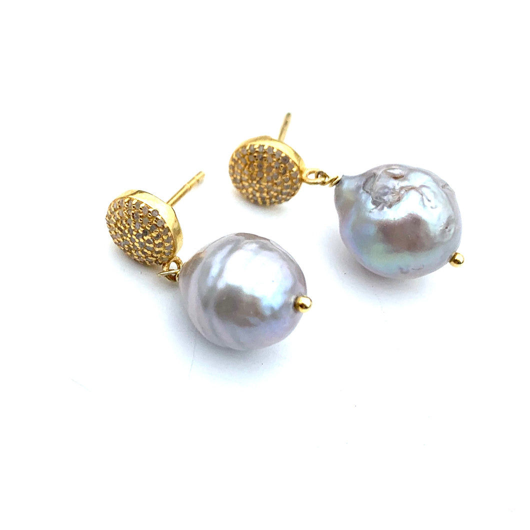 Gray Pearl Drop Earrings with Gold Diamond Post
