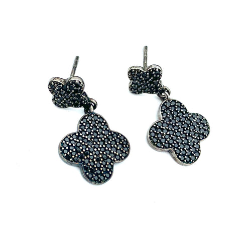 Black Spinel Double Clover Drop Earrings