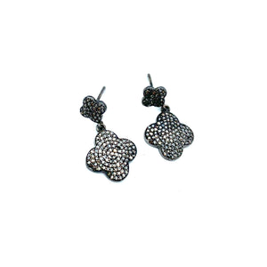 Diamond Double Clover Drop Earrings