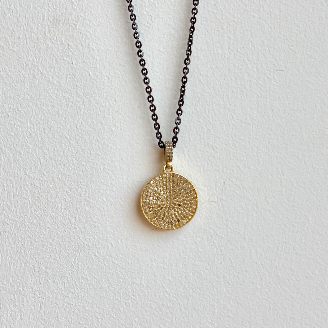Gold Plated .925 Sterling Silver Diamond Disc on .925 BR Chain