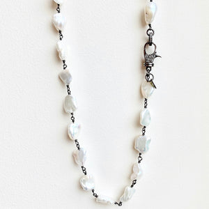 Keshi Freshwater Pearl Necklace with Diamond Clasp