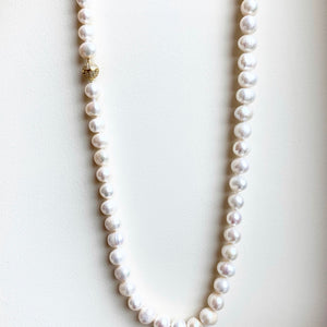"30"" Pearl Necklace with Crystal Magnetic GP Clasp"