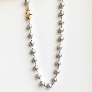"Gray Sm. Freshwater Pearl 18"" Necklace with .925 GP Diamond Clasp"