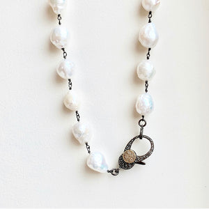 White Baroque Pearl w/ Black Rhodium & GP Diamond Clasp