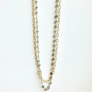 "36"" Labradorite Beaded Necklace and Gold Chain Double Strand Necklace"