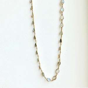 "30"" Labradorite Necklace on an 18kt Gold Chain"