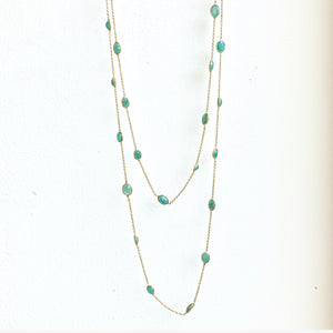 "Emeralds BTY on gold 36"" chain"