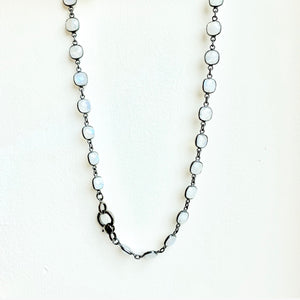 Blackened Sterling Silver Moonstone Necklace with Lobster Clasp 18""