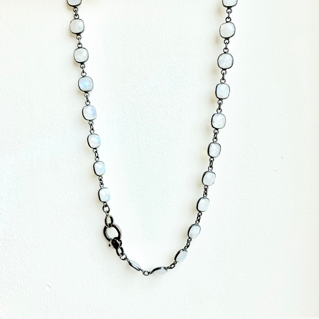 Blackened Sterling Silver Moonstone Necklace with Lobster Clasp 18