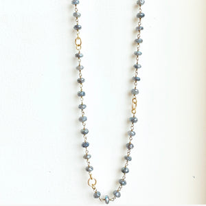 Labradorite Necklace with Gold Filled Accent Links 29""