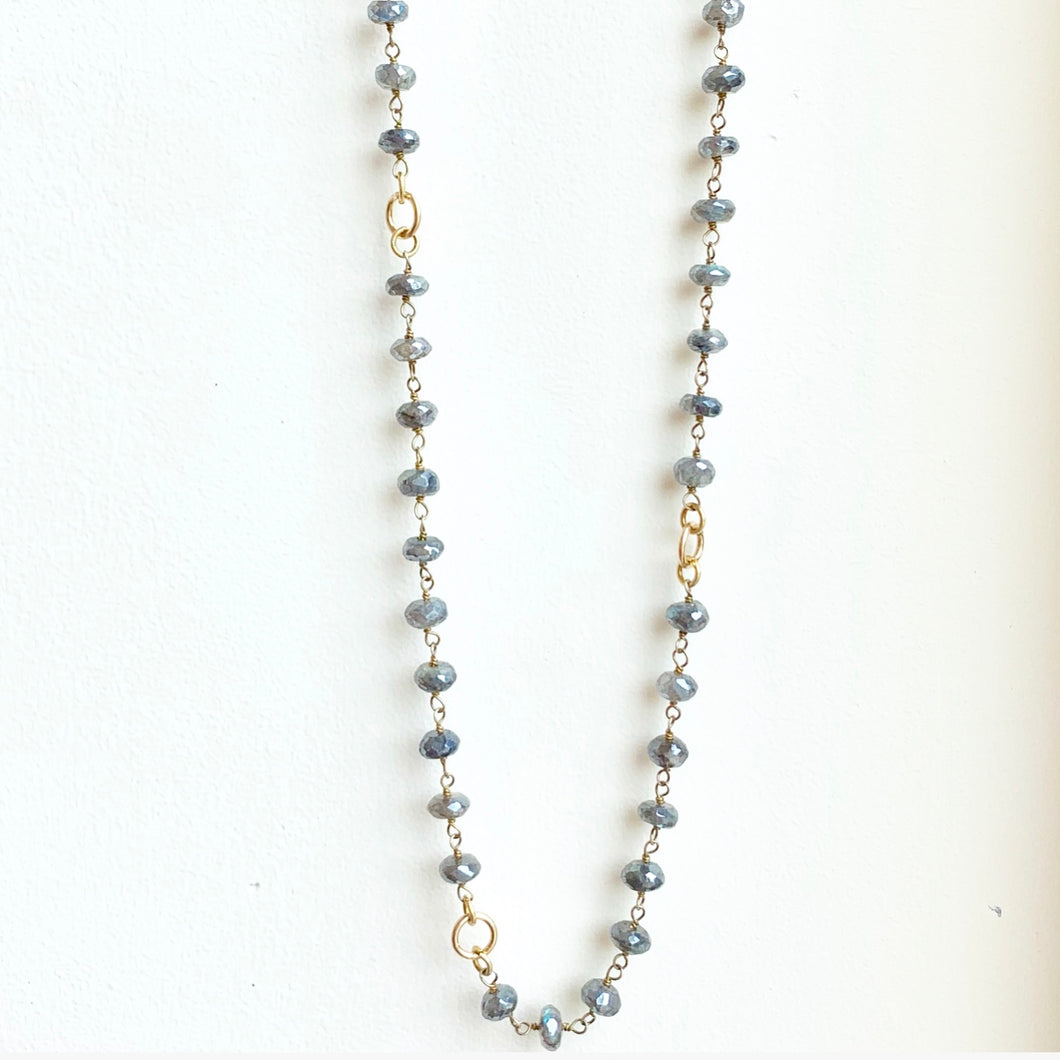 Labradorite Necklace with Gold Filled Accent Links 29