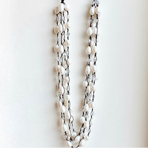 Four Layer Freshwater Pearl and Crystal Roped Necklace