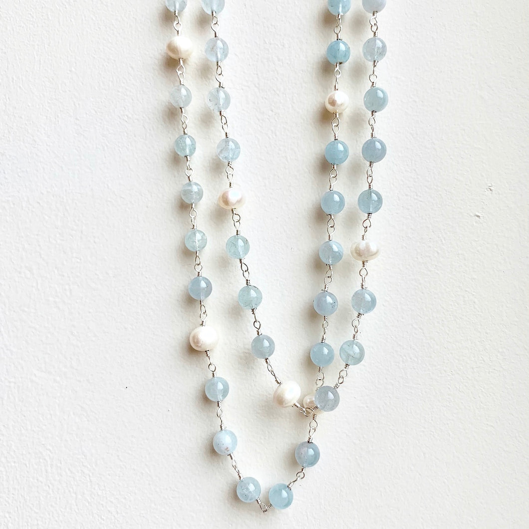 Blue Aqua Stones and Pearl Double Strand Necklace