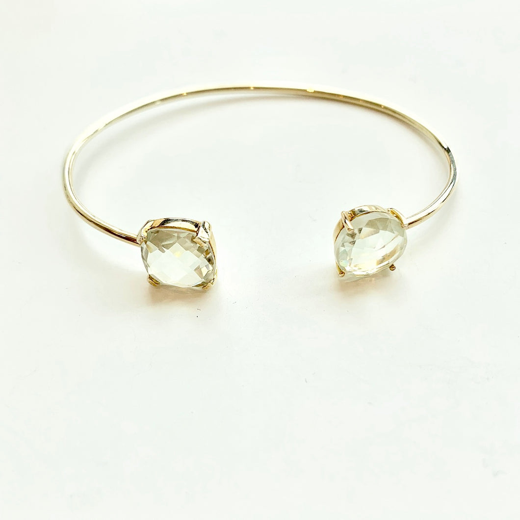 Gold Green Amethyst Bangle