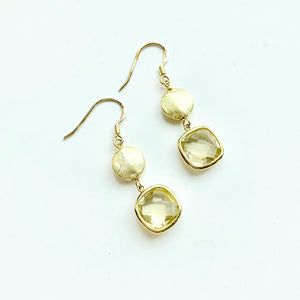 Lemon Quartz Dangle Earrings