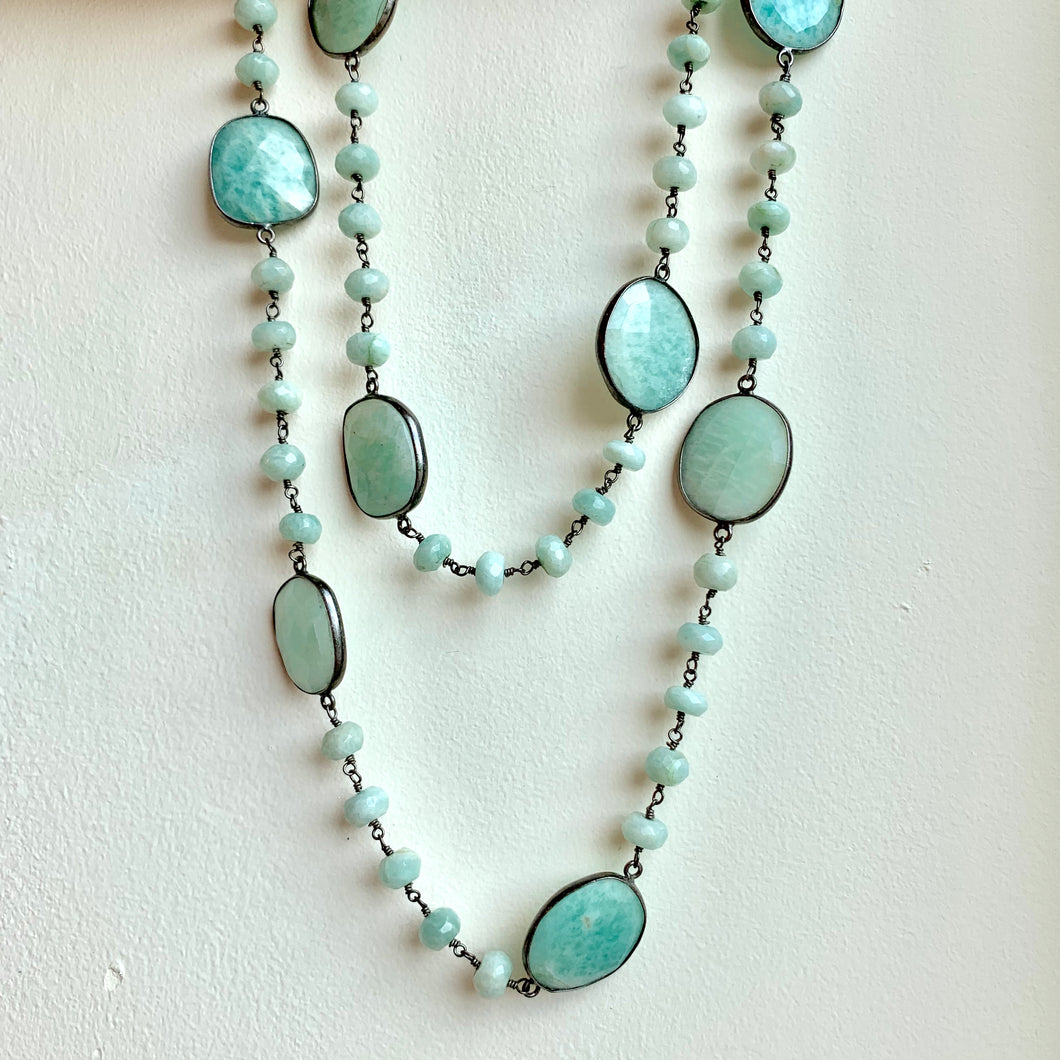 Large Amazonite Round and Flat Bead Necklace