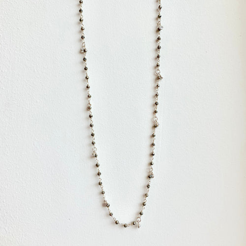 "29"" Silver Beaded Pyrite Necklace"