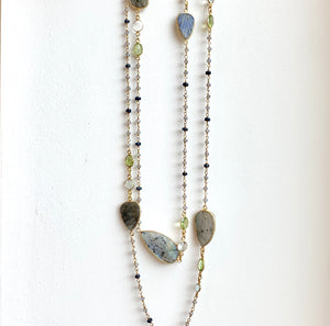 Labradorite and Peridot gold necklace