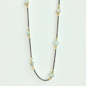 "18"" Black and Gold Aquamarine Necklace"