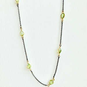 "18"" Black and Gold Peridot Necklace"