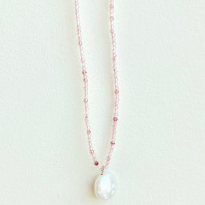 "16"" Beaded Rose Quartz Necklace with a Pearl Necklace"