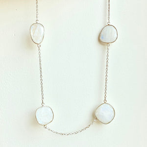 "18"" Rainbow Moonstone and sterling silver necklace"