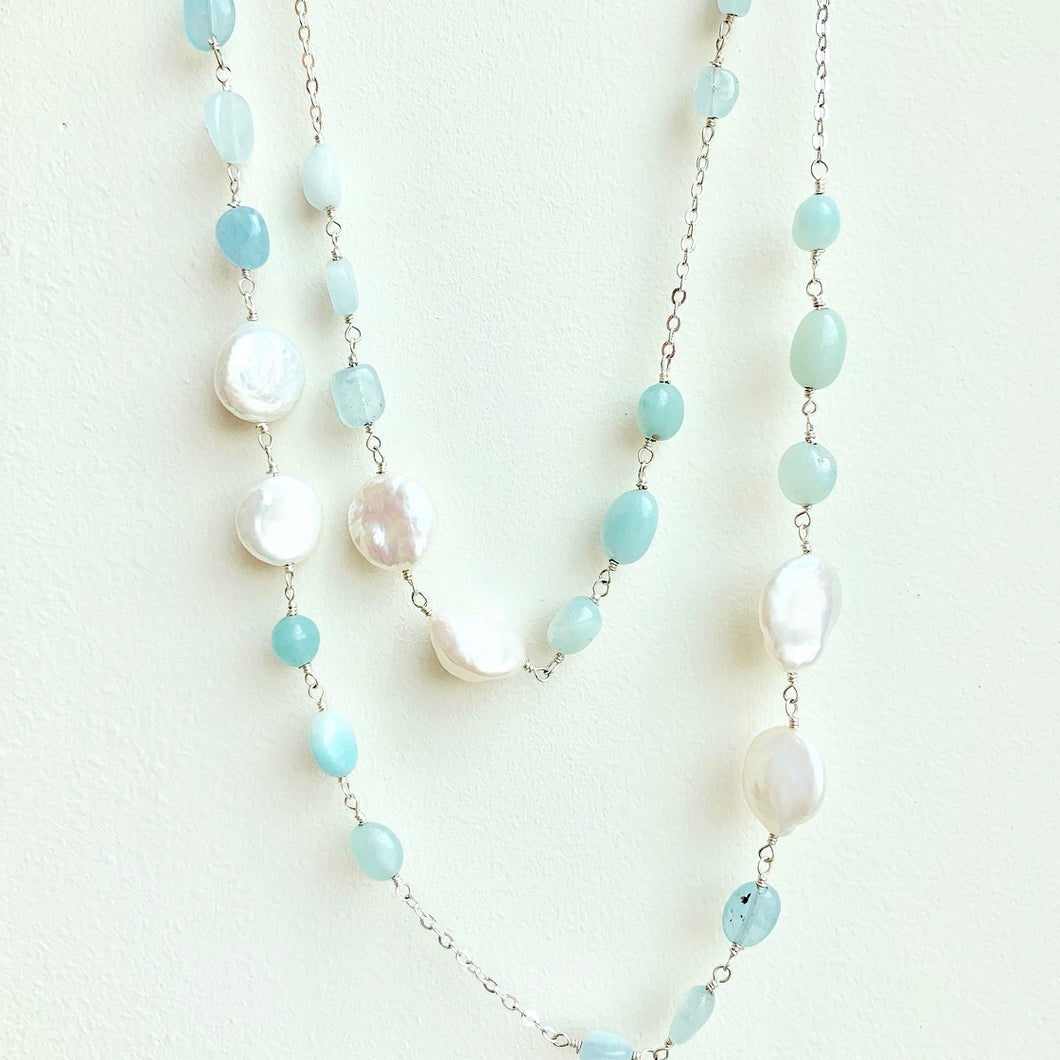 Freshwater pearl and Multi Blue Stone Necklace