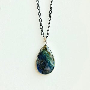 "Large labradorite pendant on blackened rhodium 24"" chain"