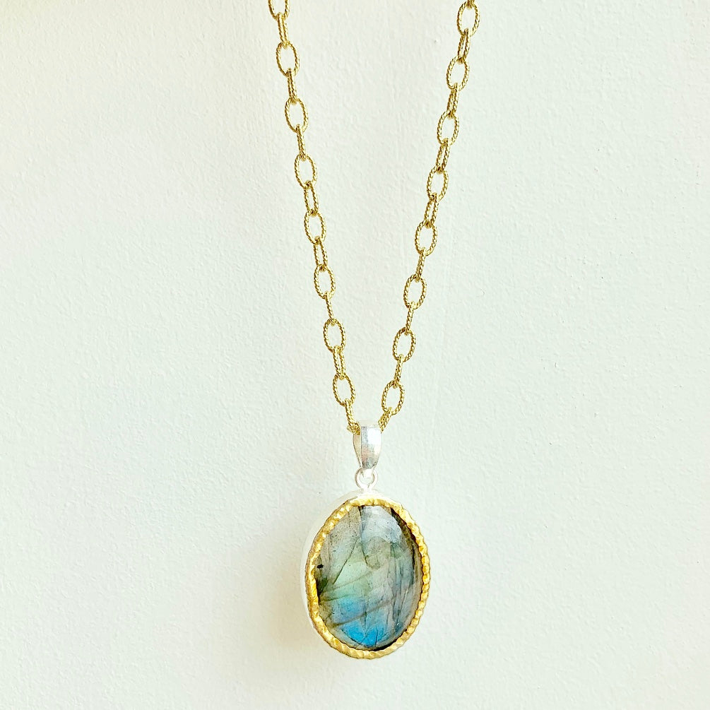 Labradorite pendant on sterling silver with gold overlay chain