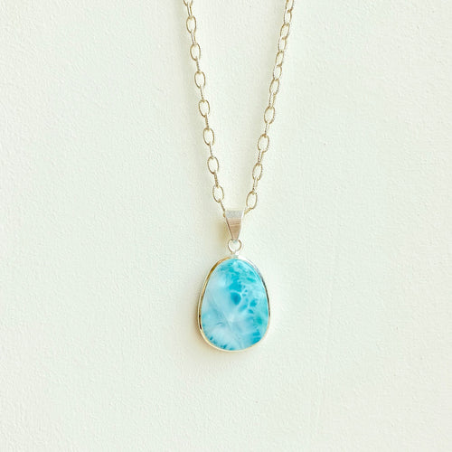 Larimar Pendant on a sterling silver chain