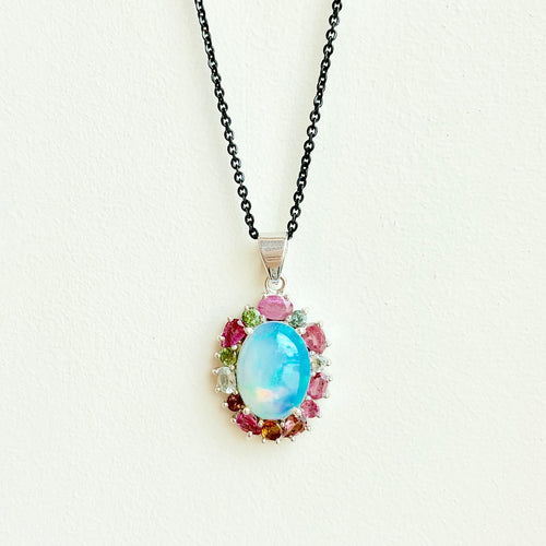 Opal and tourmaline pendant on sterling silver blackened rhodium chain