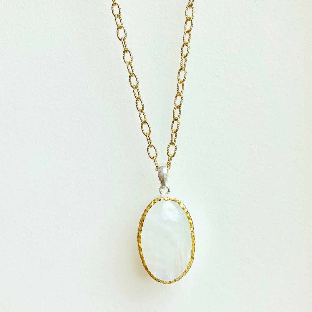 rainbow moonstone pendant on sterling silver with gold overlay chain