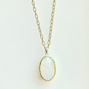 "18"" Rainbow moonstone and sterling silver with gold overlay necklace"