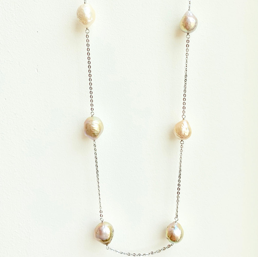Blush Freshwater Pearls on ss chain
