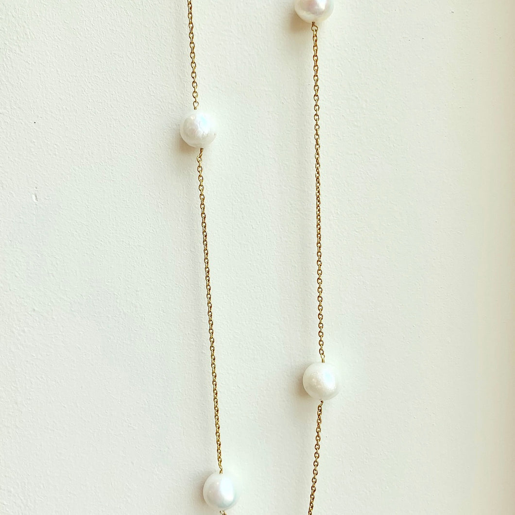 Freshwater Pearl Necklace on Sterling Silver with Gold Overlay Chain