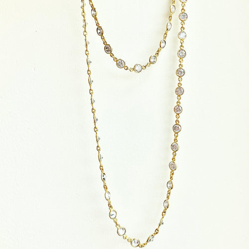 CZ by the Yard on Gold Vermeil Chain