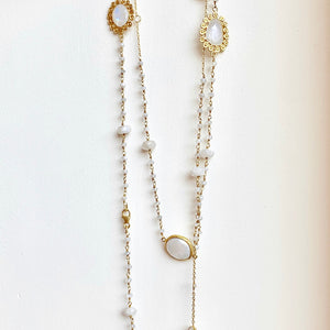 Moonstone and silverite gold verm. necklace