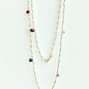 Pearl, Sapphire, Ruby and Emerald Necklace