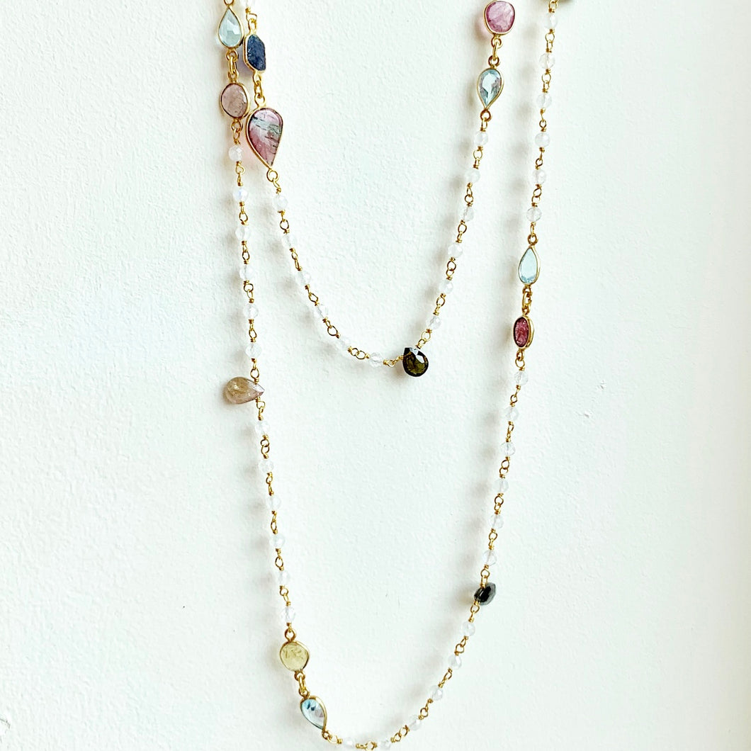 Moonstone and Tourmaline on gold chain necklace