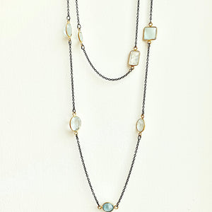 "36"" Blue Topaz and blackened rhodium necklace"