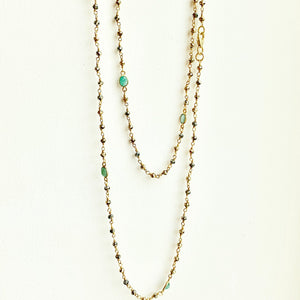 Pyrite and Emerald gold verm. necklace