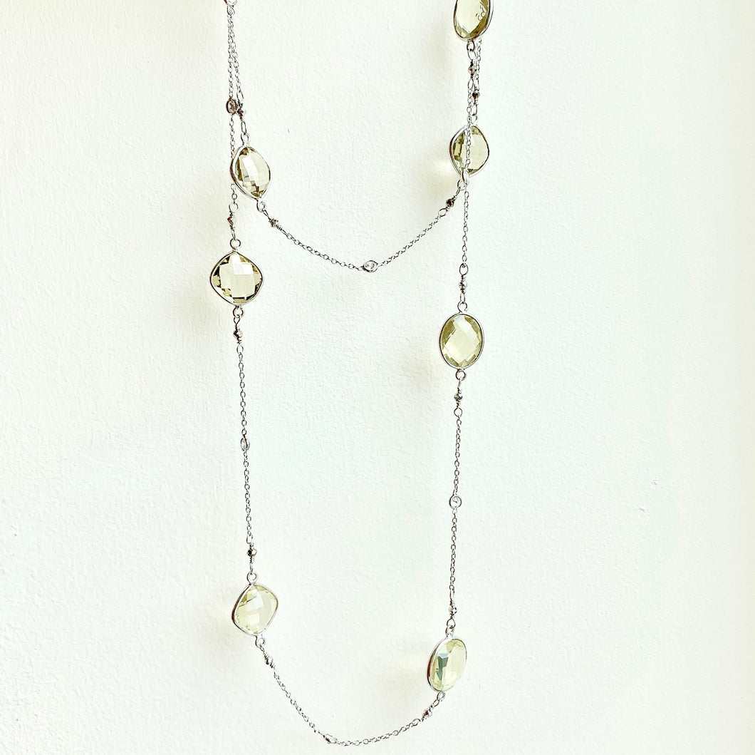 "36"" Silver Lemon Quartz Necklace"