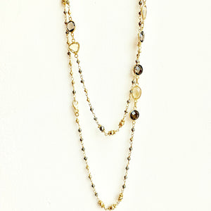 Pyrite and smokey citrine gold verm. necklace