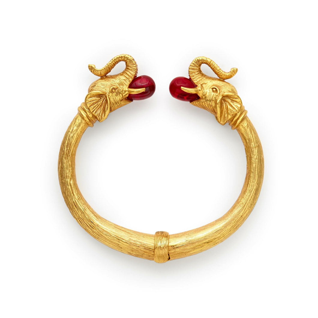 Elephant Hinge Cuff in Venetian Red Glass