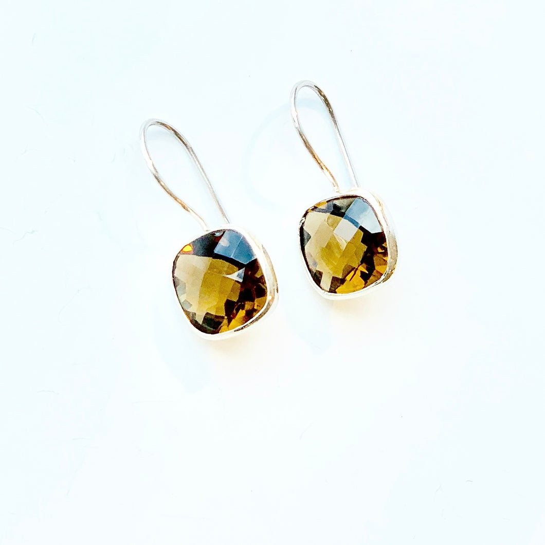 Honey Quartz and sterling silver drop earrings