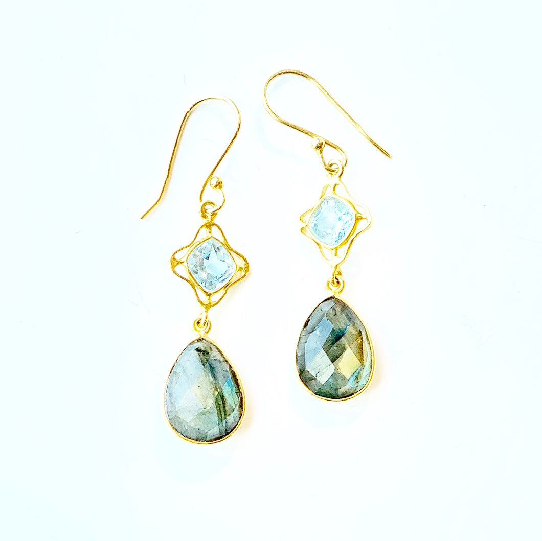 Labradorite and Blue Topaz Drop earrings