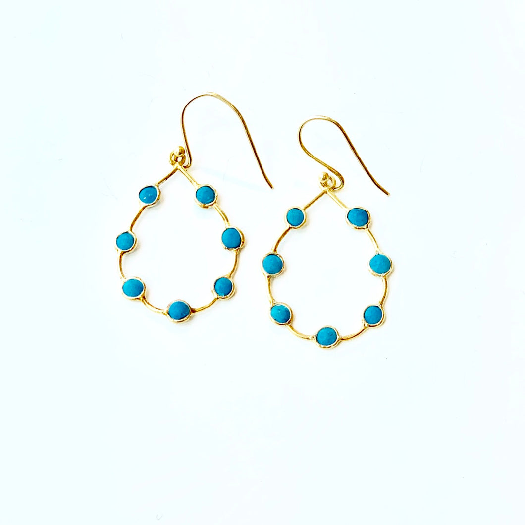 Turquoise Teardrop hoops gold verm. ss