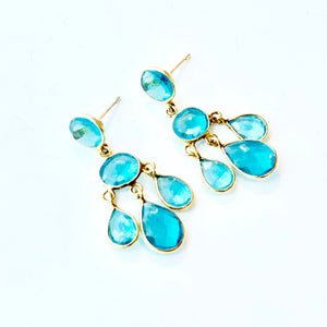 November Girl Blue Topaz 5-Stone Chandelier Earrings