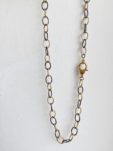 "36"" Thin Link Black and Gold Chain with Gold Polished Clasp"