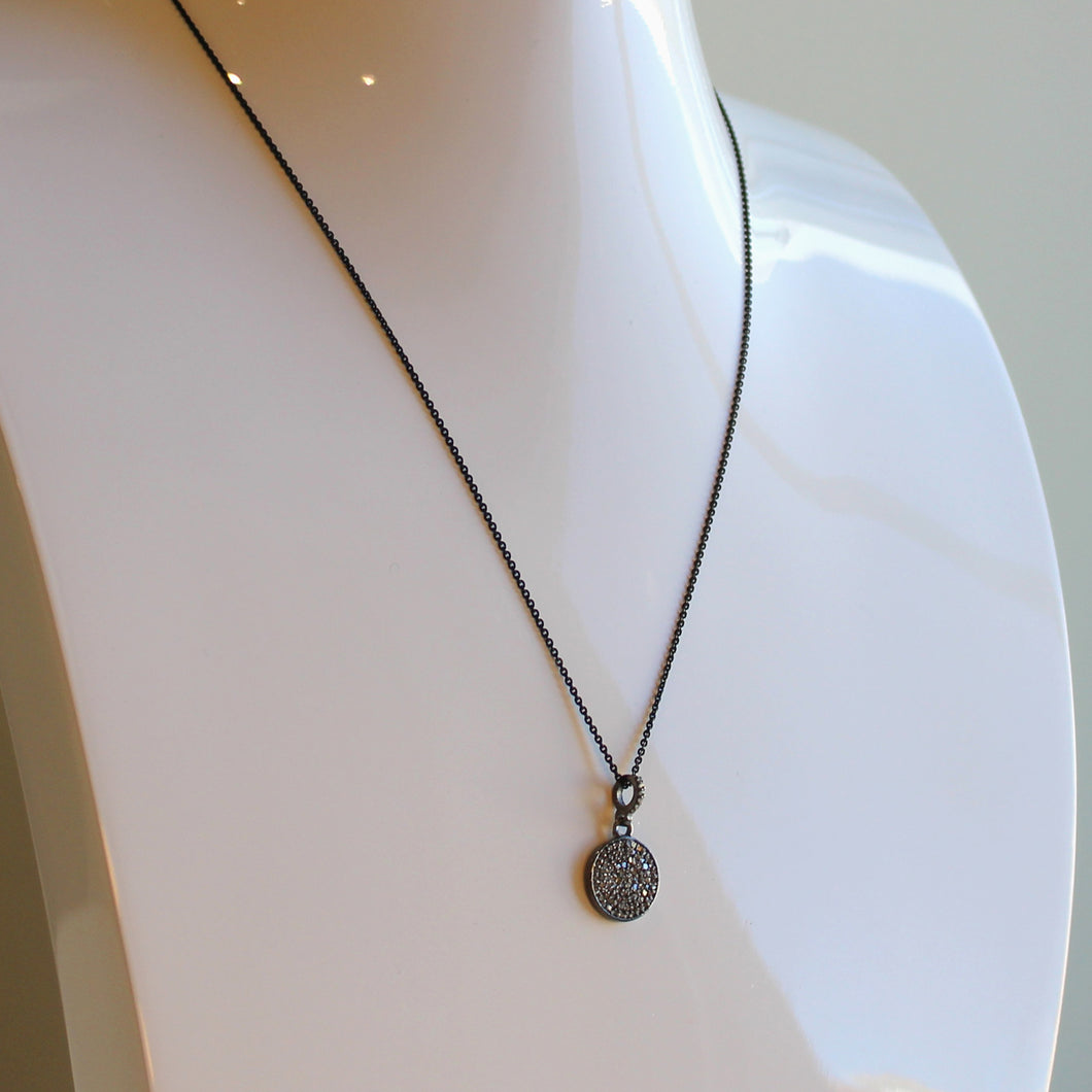 Diamond Disc Pendant on Black Rhodium Chain
